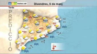 previsió del temps per al divendres 5 de març