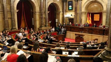 Vista general de l'hemicicle del Parlament, aquest dimecres