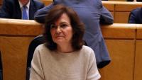 La vicepresidenta del govern espanyol, Carmen Calvo, en una sessió del Senat