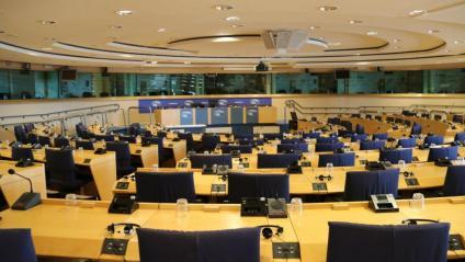 Imatge de la sala on s'havia de celebrar la conferència, al Parlament Europeu