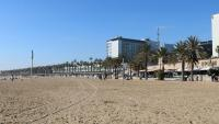 Vista de la platja del Somorrostro aquest diumenge al matí, després que a la matinada s'hi hagi trobat el cadàver d'una dona