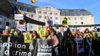 Imatge de la protesta contra el judici de l'1-O, aquest diumenge a Brussel·les