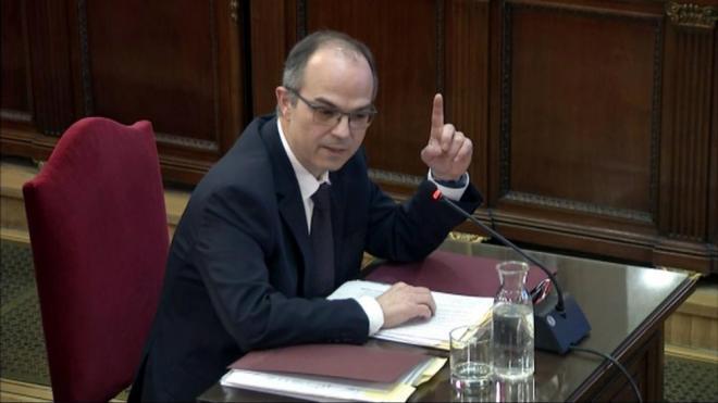 Un moment de la declaració de Jordi Turull, aquest dimarts al Tribunal Suprem