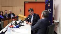 El líder de JxCat, Carles Puigdemont, en una conferència dijous a Anvers
