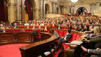 Vista de l'hemicicle del Parlament, durant el ple d'aquest dimecres