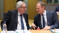 Els presidents de la Comissió Europea, Jean Claude Junker, i el Consell Europeu, Donald Tusk, en una reunió aquest dimecres a Brussel·les