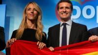 La candidata del PP per Barcelona, Cayetana Álvarez de Toledo, i el líder popular espanyol, Pablo Casado, aquest dimecres a la capital catalana