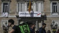 El palau de la Generalitat, aquest dijous amb el nou cartell