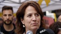 La presidenta de l'ANC, Elisenda Paluzie, aquest dimarts a l'estand de l'entitat a la plaça de Catalunya de Barcelona