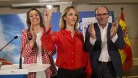 La candidata del PP per Barcelona, Cayetana Álvarez de Toledo (c), aquest dimarts a Girona
