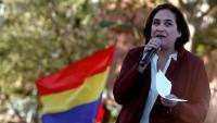 L'alcaldessa de Barcelona, Ada Colau, durant l'acte electoral d'aquest dimecres