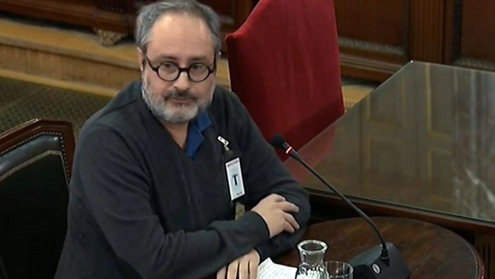 El periodista i exdiputat de la CUP Antonio Baños, durant la seva breu compareixença al judici de l'1-O