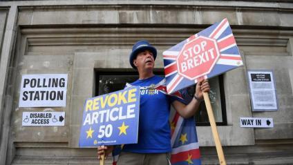 Un activista contra el Brexit, aquest dijous davant un col·legi electoral