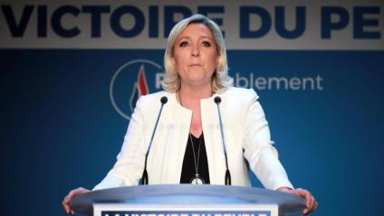La líder de Reagrupament Nacional, Marine le Pen, en una compareixença després de les eleccions europees