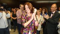 L'alcaldessa de Girona, Marta Madrenas, celebrant aquest diumenge els resultats electorals