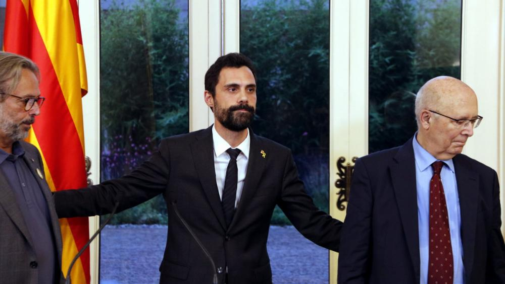 Els presidents Benach, Torrent i Rigol, aquest dilluns al Parlament