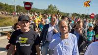 L'exlehendakari Juan José Ibarretxe i el president Quim Torra, aquest dimecres a la Marxa per la Llibertat