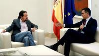 El líder de Podem, Pablo Iglesias, reunit aquest dimecres amb el president del govern espanyol en funcions, Pedro Sánchez