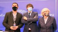 Els eurodiputats de Junts Toni Comín, Carles Puigdemont i Clara Ponsatí, al Parlament Europeu