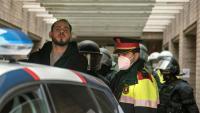 El raper Pablo Hasél, durant la seva detenció el passat 16 de febrer a Lleida