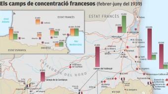 El mapa dels camps de refugiats a l'estat francès