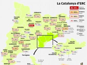 El mapa d'ERC El Punt Avui