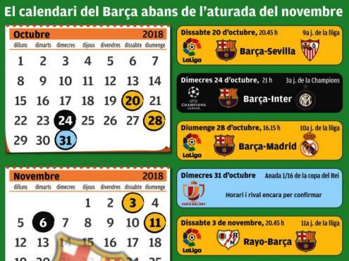 El calendari del Barça abans de l'aturada de novembre