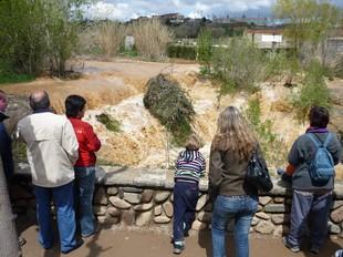 Un grup de persones observant el cabal Francolí, al seu pas per l'Espluga.  O.PALAU/ A.PORTA