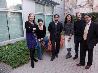 D'esquerra a dreta, Maria Àngels Cabasés (ERC), Laia Ortiz (ICV), Oriol Pujol (CiU), Rocio Martínez- Sampere (PSC), Antonio Espinosa(Ciiutadans) i Enric Millo (PP).  Foto:ANDREU PUIG