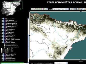 L'atles es pot consultar a través d'internet i permet seleccionar els tipus d'arbres i la seva evolució UAB-CREAF