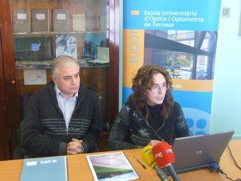 Jaume Escofet i Aurora Torrents , tot presentant l'estudi a l'EUOOT de Terrassa M.C.B