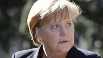 La consellera Merkel, dijous de la setmana passada, en el moment de ser rebuda a La Moncloa per Rodríguez Zapatero. EFE