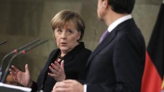 Angela Merkel i Zapatero dijous a Madrid en la roda de premsa JUAN MEDINA / REUTERS