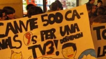 Protestes a Castelló pel tall de les emissions de TV3.  DIANA LLORENS