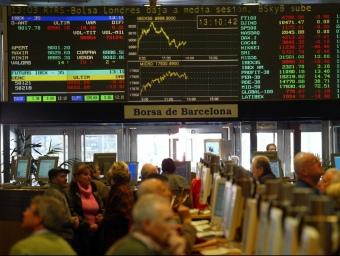 Imatge del parquet de la Borsa de Barcelona, al passeig de Gràcia.  ARXIU