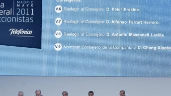 Una imatge de la junta ordinària d'accionistes de Telefònica celebrada aquest mes a Madrid. EFE