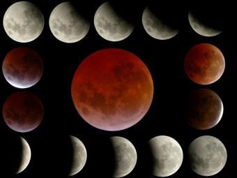 Eclipsi de Lluna del 3 de març del 2007, també amb tonalitat vermellosa (evolució de dalt a baix i d'esquerra a dreta) JOSÉ MUÑOZ REALES /ASTER AAB