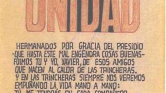 L'escrit i el dibuix que Ortiz va dedicar a Xavier Corominas.