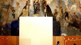 Les obres al Mercadal, amb el mural al fons. JORDI SOLER