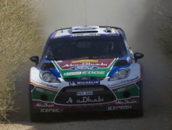 El Ford Fiesta WRC de Mikko Hirvonen, en un tram de la primera etapa del Ral·li Catalunya 2011. Foto:JOSÉ C. LEÓN