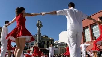 El concurs de colles a la plaça del lleó de Girona.  Lluís Serrat