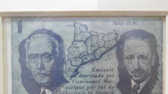Macià i Companys en el bitllet d'una pesseta emès el 1937 a Malgrat i ara exposat a la Casa de la Moneda D.P