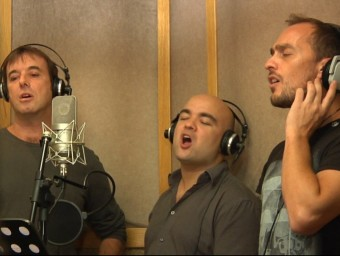 Glaucs & Menaix a Truà, Miguel Bosé i Loquillo, en la gravació del disc TV3