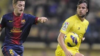 Una acció del Vila-real-Barça B de la primera volta.
