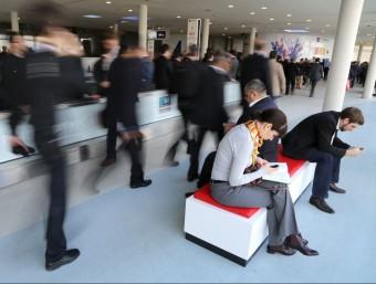 Assistents a la darrera edició del Mobile World Congress de Barcelona.  ARXIU/QUIM PUIG