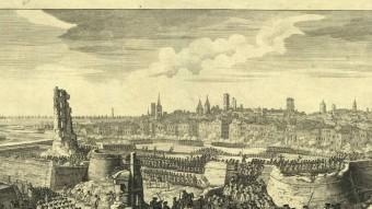 La caiguda de Barcelona.  GRAVAT QUE RECREA EL DEVASTADOR ASSALT DE LES TROPES DE FELIP V A BARCELONA EL 1714. VIQUIPÈDIA