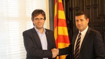 L'alcalde de Girona, Carles Puigdemont, i el president del club de futbol, Joaquim Boadas. GIRONA FC