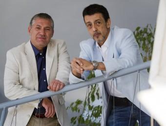Carlos Borda i Jesús Rojo en les instal·lacions del centre de negocis BCIN de Badalona.  Foto:ALBERT SALAMÉ