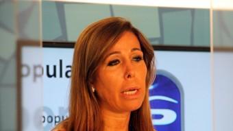 La presidenta del PP de Catalunya, Alícia Sánchez-Camacho, ahir a la seu del partit ACN