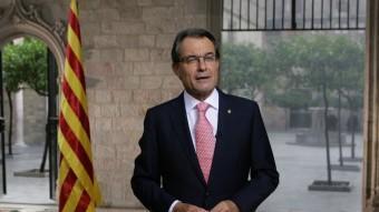 El president de la Generalitat, Artur Mas, pronunciant el discurs institucional de la Diada JORDI BEDMAR